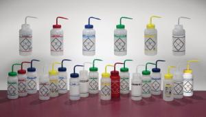 Safety wash bottles, wide mouth, with printed name